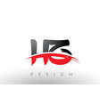 hz h z brush logo letters with red and black vector image