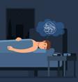insomnia problem sleepy man character vector image