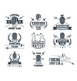 labels set for fencing sport monochrome pictures vector image vector image