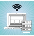 laptop wifi data base vector image vector image