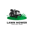 lawn mower with engine tractor logo icon vector image vector image