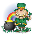 leprechaun pot gold cartoon character vector image vector image