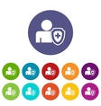 Medical cross protection shield set icons vector image