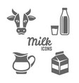milk products black icons isolated on white vector image
