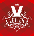 ornate letter V logo on a red background vector image vector image