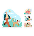 people man woman characters happy with their pets vector image vector image