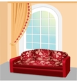 Red sofa near the window with lace curtain vector image