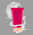 red tube for cosmetics and white wave spray vector image vector image