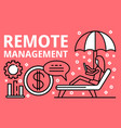 remote management banner outline style vector image vector image