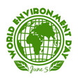round stamp for world environment day june 5 vector image vector image