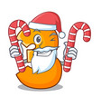 santa with candy number three isolated on the vector image vector image