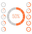 set of ring pie charts with percentage value vector image vector image