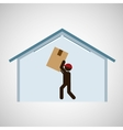 silhouette delivery man carrying big box vector image