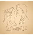Sketch of bride and groom vector image vector image