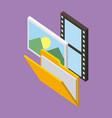 storage folder photo movie vector image vector image