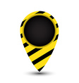 tag map of the world with yellow and black stripes vector image vector image
