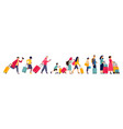 travelers group tourists in line baggage vector image
