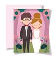 wedding invitation with couple portrait flower vector image