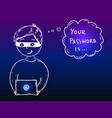 young hacker boy stealing password vector image vector image