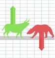 Battle between bulls and bears on financial market vector image