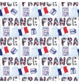 France seamless pattern with creative doodle vector image