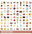 100 cafe icons set flat style vector image vector image