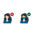 a girl woman with medical mask and guy vector image vector image