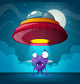 alien ufo night cartoon landscape vector image