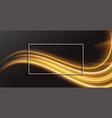 black background with golden wavy shape design vector image