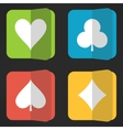 Bright playing cards suits icons set in clean vector image vector image