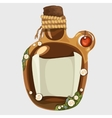 Brown old bottle with a note isolated vector image vector image