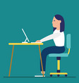 business woman at the desk is working on the vector image vector image