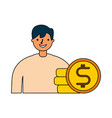 businessman with stack coins money vector image vector image