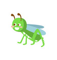 cartoon smiling grasshopper colorful character vector image vector image