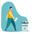 caucasian person man throwing a plastic bottle vector image