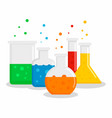 chemical flask set concept background flat style vector image vector image