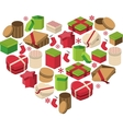 Christmas heart made of gift boxes vector image vector image