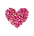 colorful silhouette of many hearts forming a big vector image