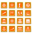 columbus day icons set orange vector image vector image