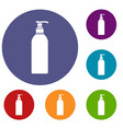cosmetic bottle icons set vector image vector image