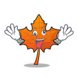 crazy red maple leaf mascot cartoon vector image vector image