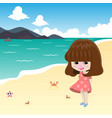 cute girl on the beach vector image