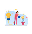 female character in pink suit is increasing vector image