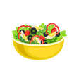 flat icon of yellow bowl with tasty salad vector image vector image