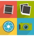 Flat style photography icons with long shadow Set vector image vector image