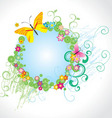 flowers and butterfly round frame vector image