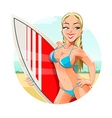 girl with surfing board on vector image
