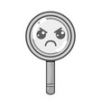 grayscale kawaii cute angry magnifying glass vector image vector image