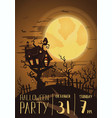 halloween party poster with spooky castle vector image vector image