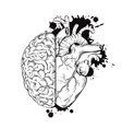 hand drawn line art human brain and heart halfs vector image vector image